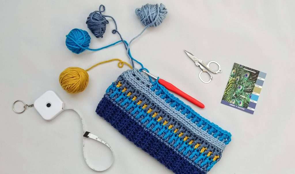 In progress photo of the Arctic Gem Beanie made with this free crochet hat pattern.