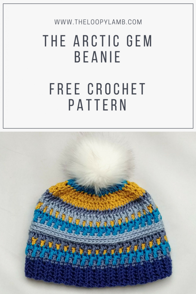 Textured crochet hat in shades of blue made with this free crochet hat pattern