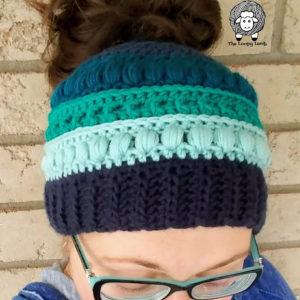 The Polar Puff Messy Bun Hat Free Crochet Pattern
