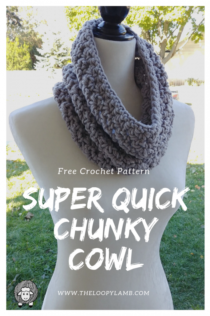 A grey Super Quick and Chunky Crochet Cowl being worn by a mannequin