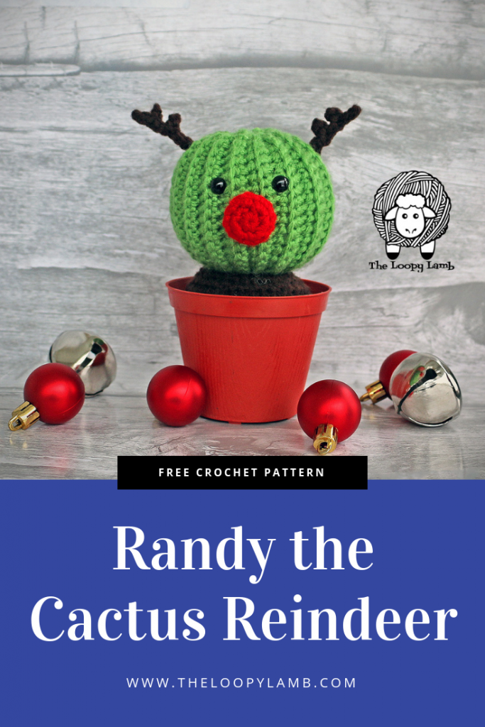 Randy the Cactus Reinder: a cactus with a red nose and antlers