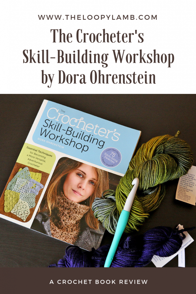 The Crocheter's Skill-Building Workshop laying next to a crochet hook and yarn.