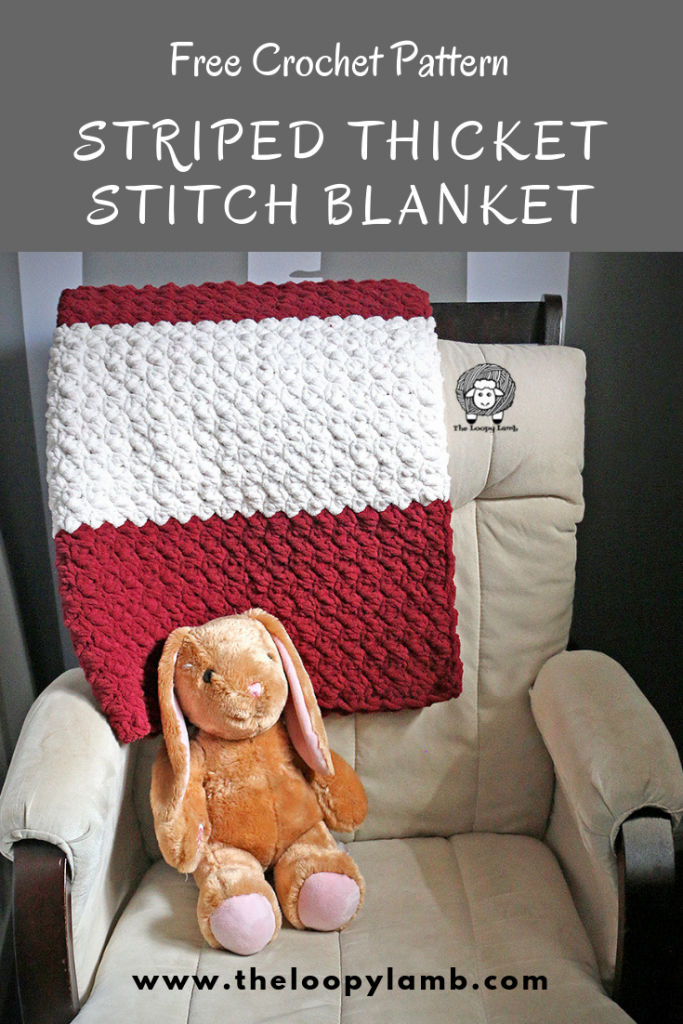 striped thicket stitch blanket on a chair