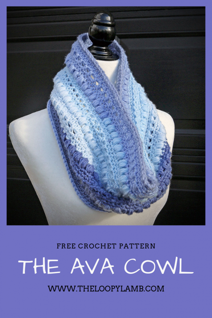 blue ava cowl crochet cowl being worn by a mannequin