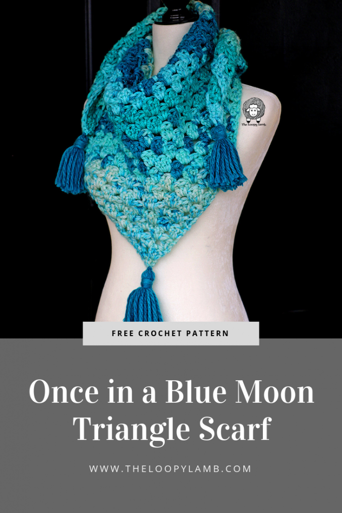 blue Once in a Blue Moon Triangle Scarf being worn by a mannquin