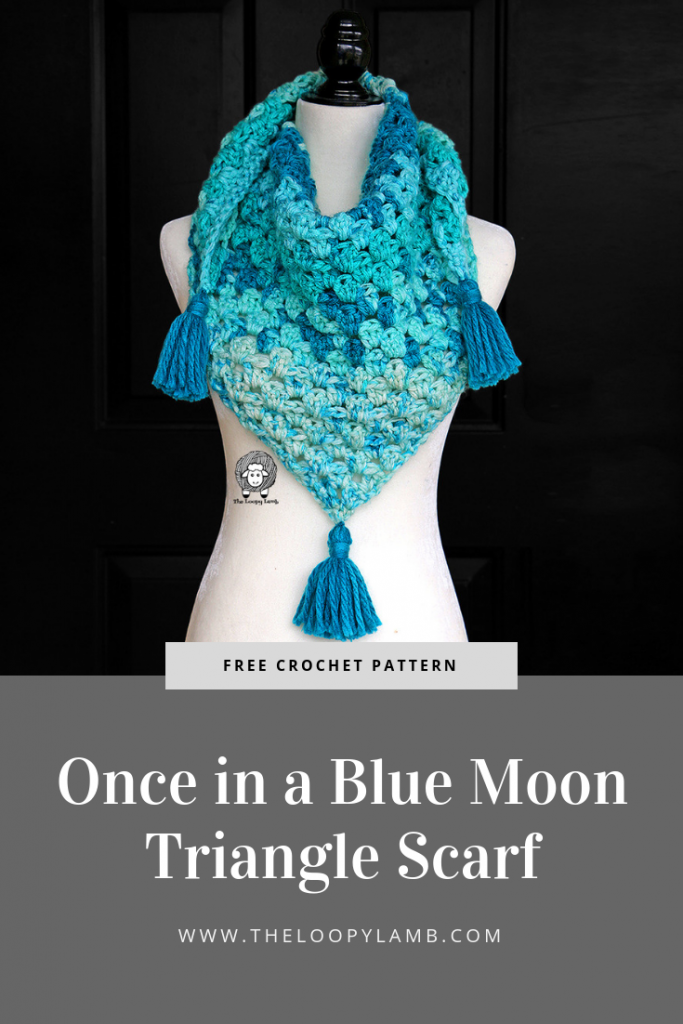 blue Once in a Blue Moon Triangle Scarf being worn by a mannequin