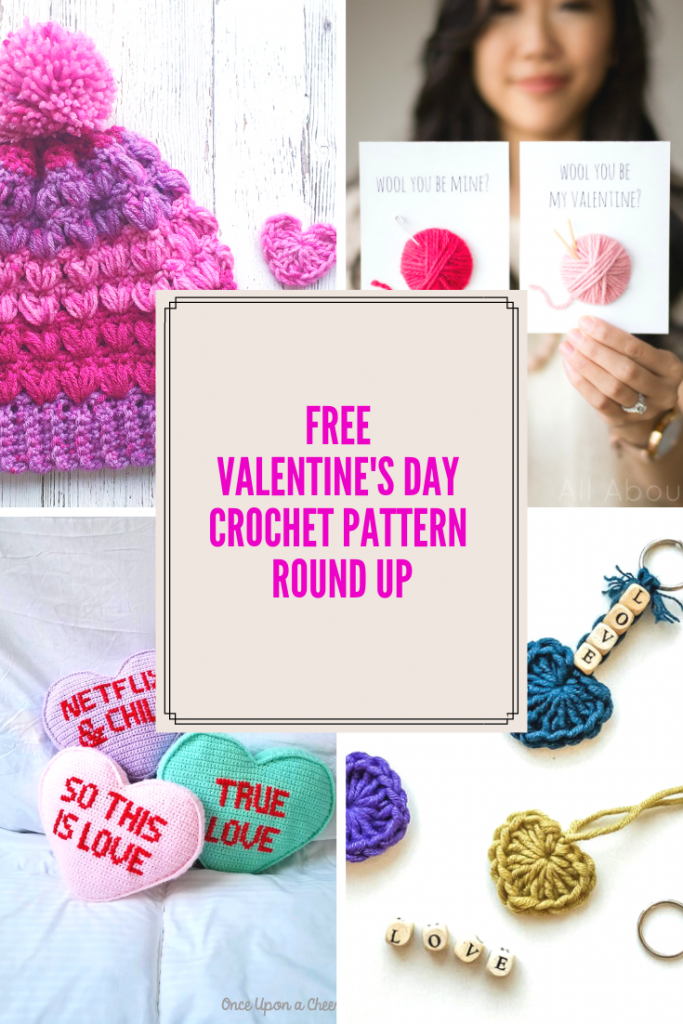 collage of trendy valentine's day crochet projects