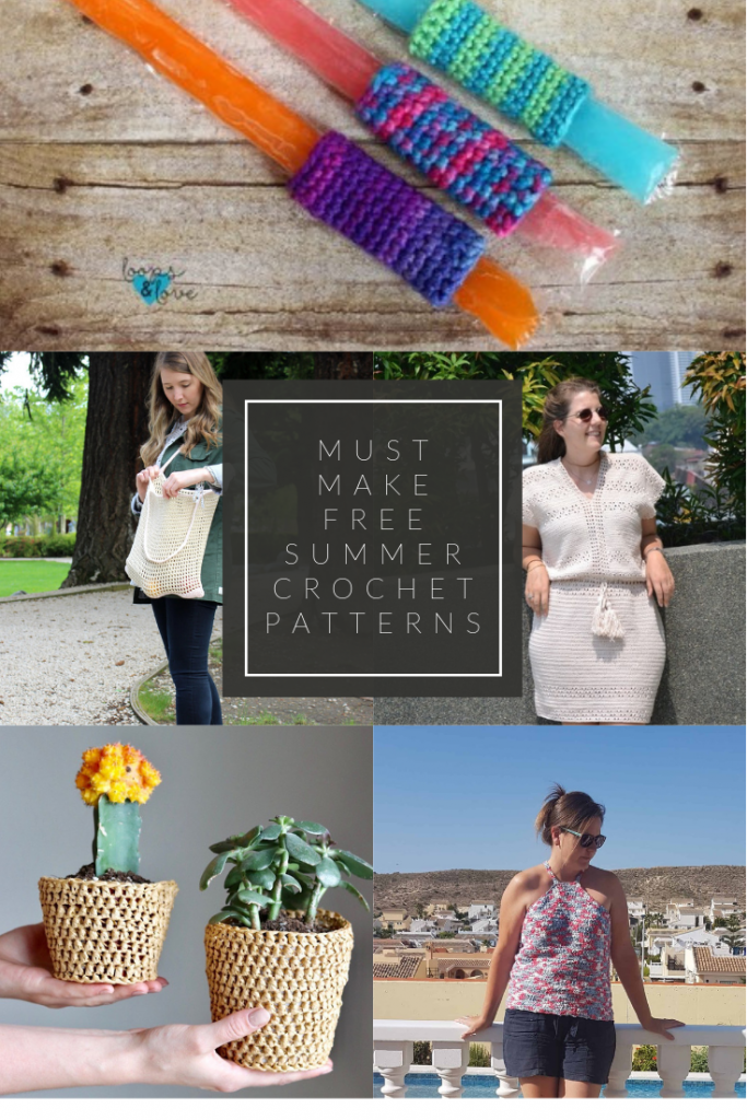 Collage of summer crochet patterns with text overlay indicating a round up of projects