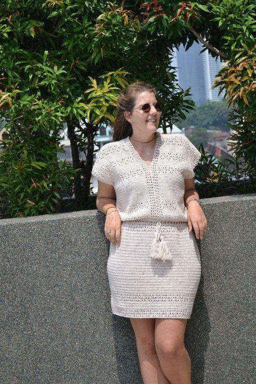 Woman wearing crochet dress