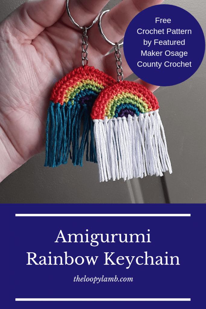 hand holding two crochet rainbow keychains