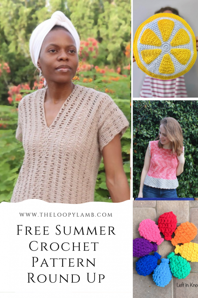 Collage of fun and stylish free summer crochet patterns