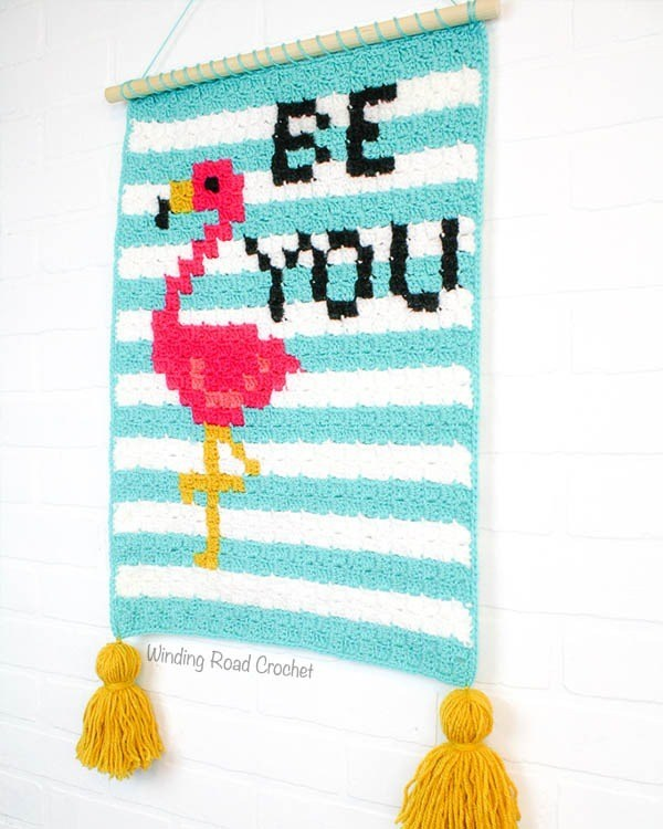 Flamingo Wallhanging by Winding Road Crochet