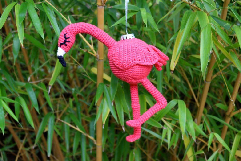 Crochet Flamingo Ornament from Stella's Yarn Universe