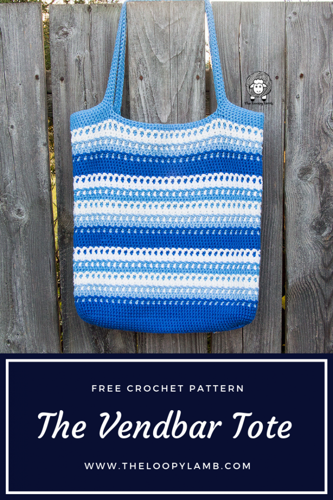 """The Vendbar Tote Bag - A Free Crochet Pattern by The Loopy Lamb.  The Vendbar Tote has a wonderful texture, easy colour changes and best of all....it's reversible!  The bag has a totally different and beautiful texture on the inside that is just as beautiful as the """"right side"""".    #freecrochetpattern #crochettotebag #Crochetmarketbag #Crochetbag #easycrochetpattern #cottonyarn #reversiblebag #reversiblecrochet"""