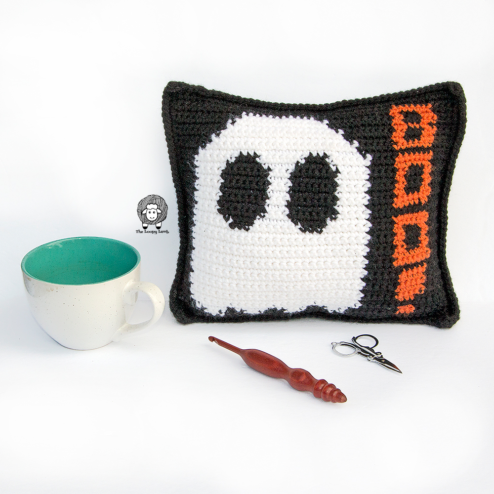Mad about Boo Crochet Halloween Pillow