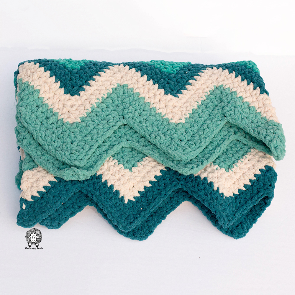 Crochet Chevron Blanket in Teal