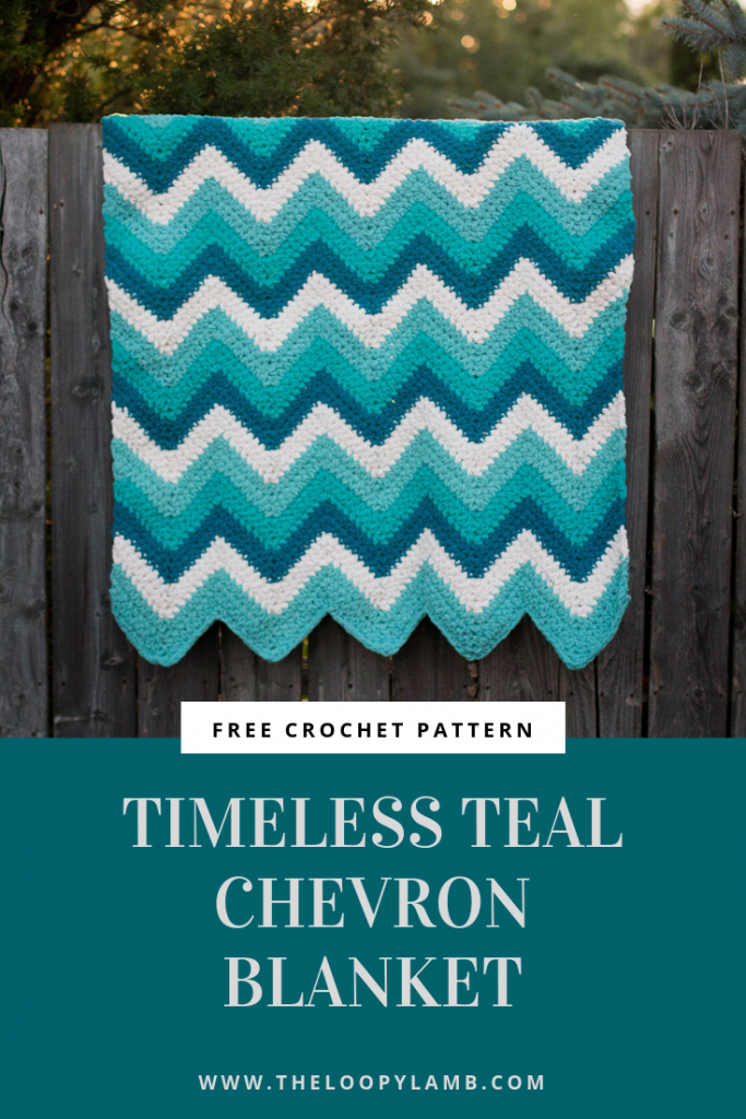 Timeless Teal Chevron Blanket Free Crochet Patter - By The Loopy LambLooking for a quick crochet blanket that it great for babies and adults alike?  This easy crochet blanket pattern can be worked up in a few evenings and it's always a big hit.  This pattern uses Bernat Blanket Yarn and it is super soft and squishy.  A chevron blanket is a timeless pattern that can be enjoyed for years to come#blanket #chevronblanket #crochetblanket #freeblanketpattern #blanketpattern #freecrochetpattern #freecrochet #crochet #freecrochetblanket #chevronblanketpattern #bernatblanket #easyblanket #pattern #quickblanket