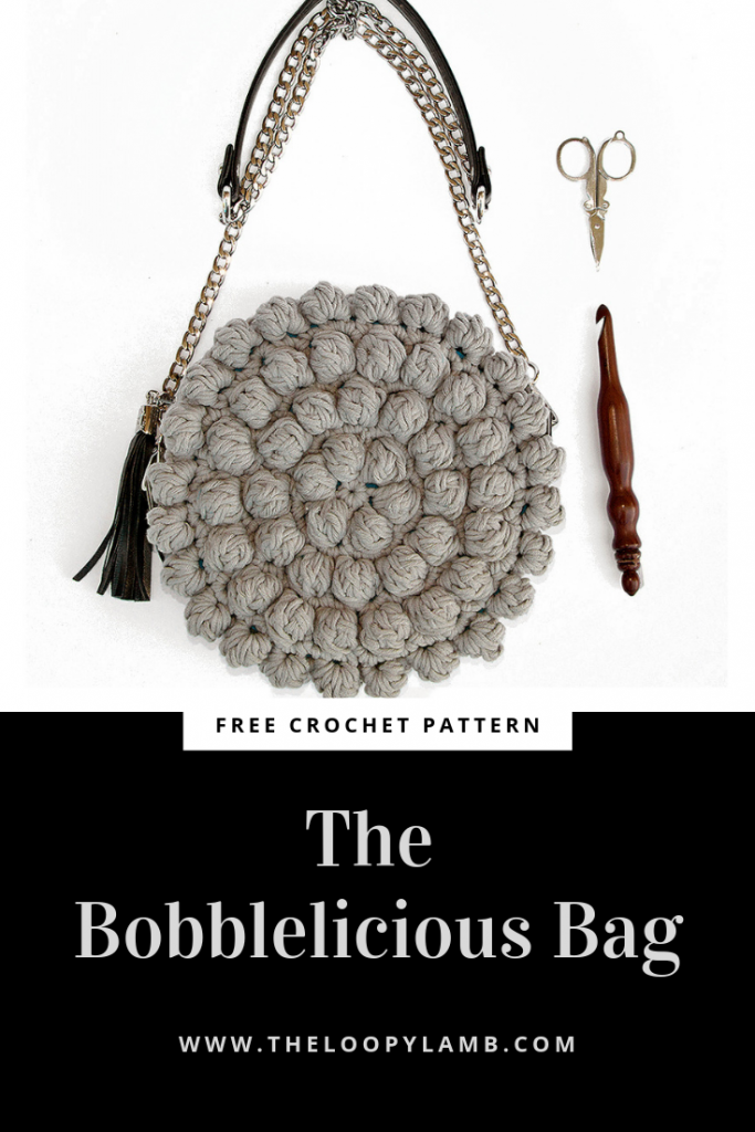 The Bobblelicious Bag: a round crochet purse made with this free crochet purse pattern by the loopy lamb