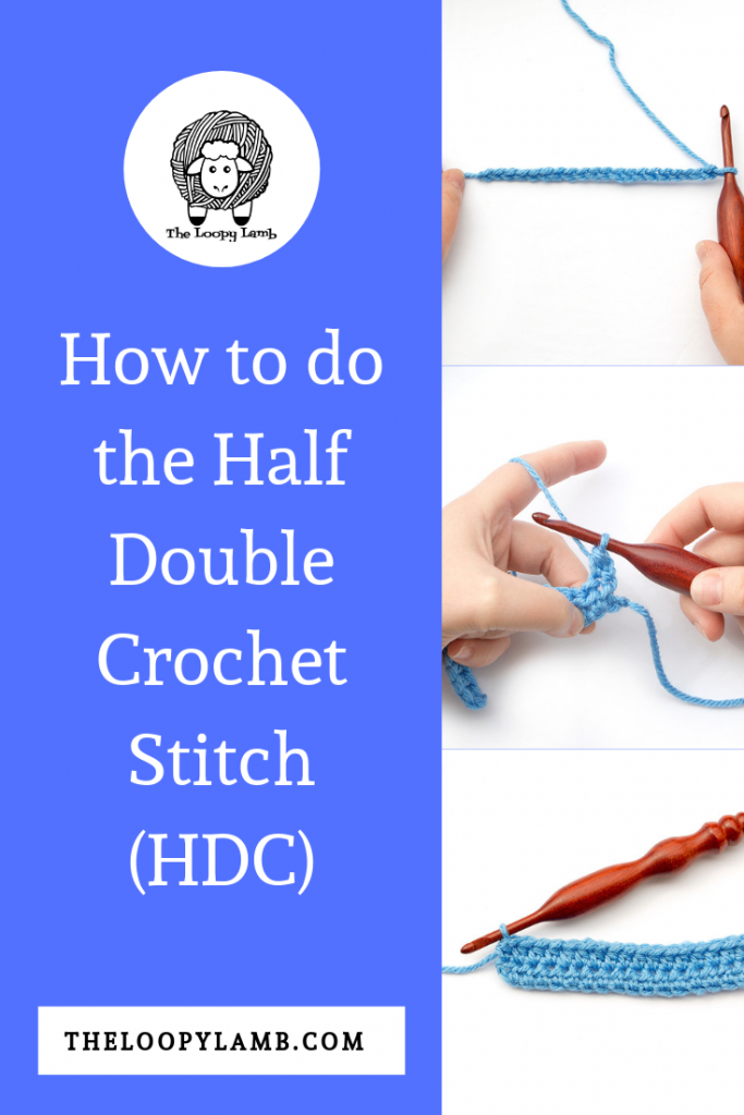 Step by step photos showing how to do the half double crochet stitch.