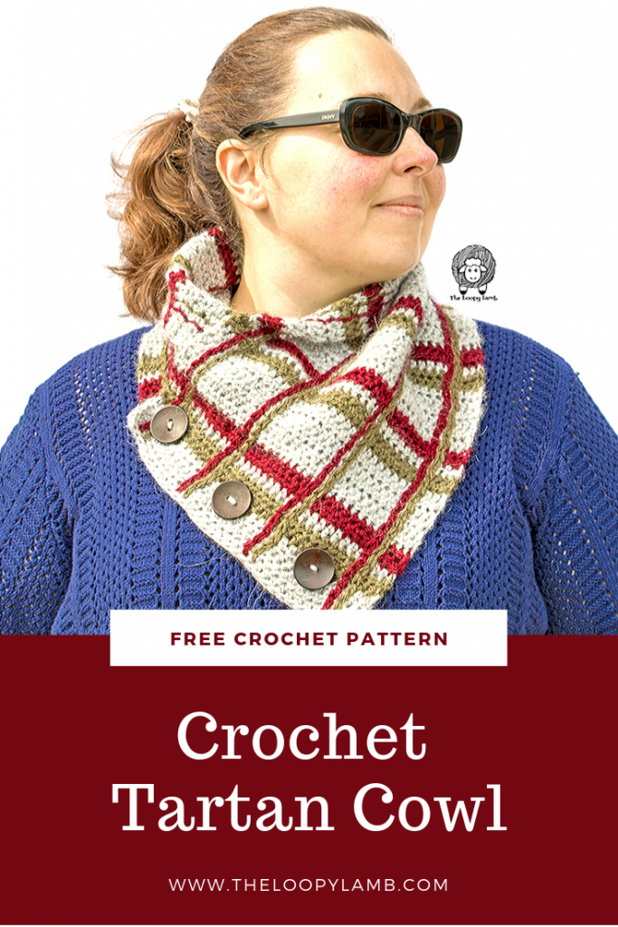 The Crochet Tartan Cowl is a free crochet patterh for a beautifully classic cowl made using simple colour changes and simple stitches.  If you can crochet a chain, half double crochet and slip stitch, you can make this cowl.  #crochetpattern #freecrochet #buttoncowl #crochetcowl #crochetcowlpattern #plaidcowl #tartancowl