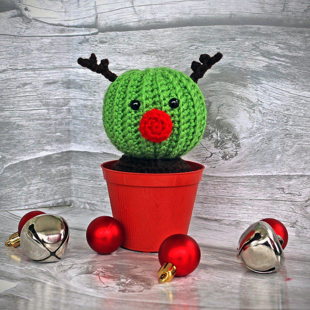 Randy the Cactus Reindeer Crochet Cactus