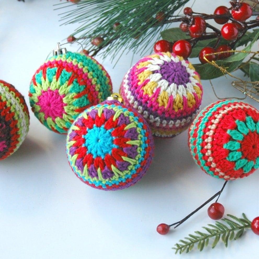 Colourful Crochet Christmas Baubles  - Free Crochet Christmas Decoration Pattern