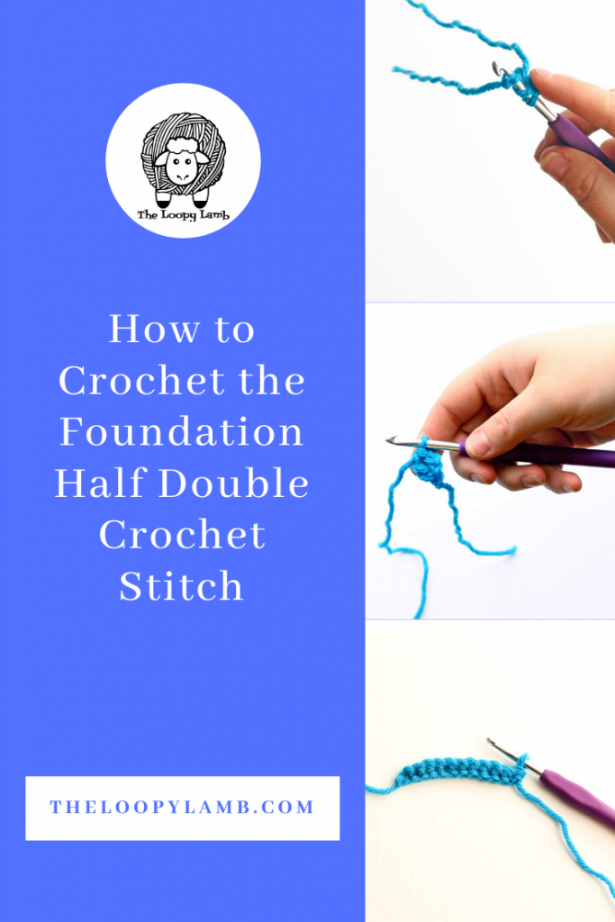step by step photos of how to do the half double crochet stitch.