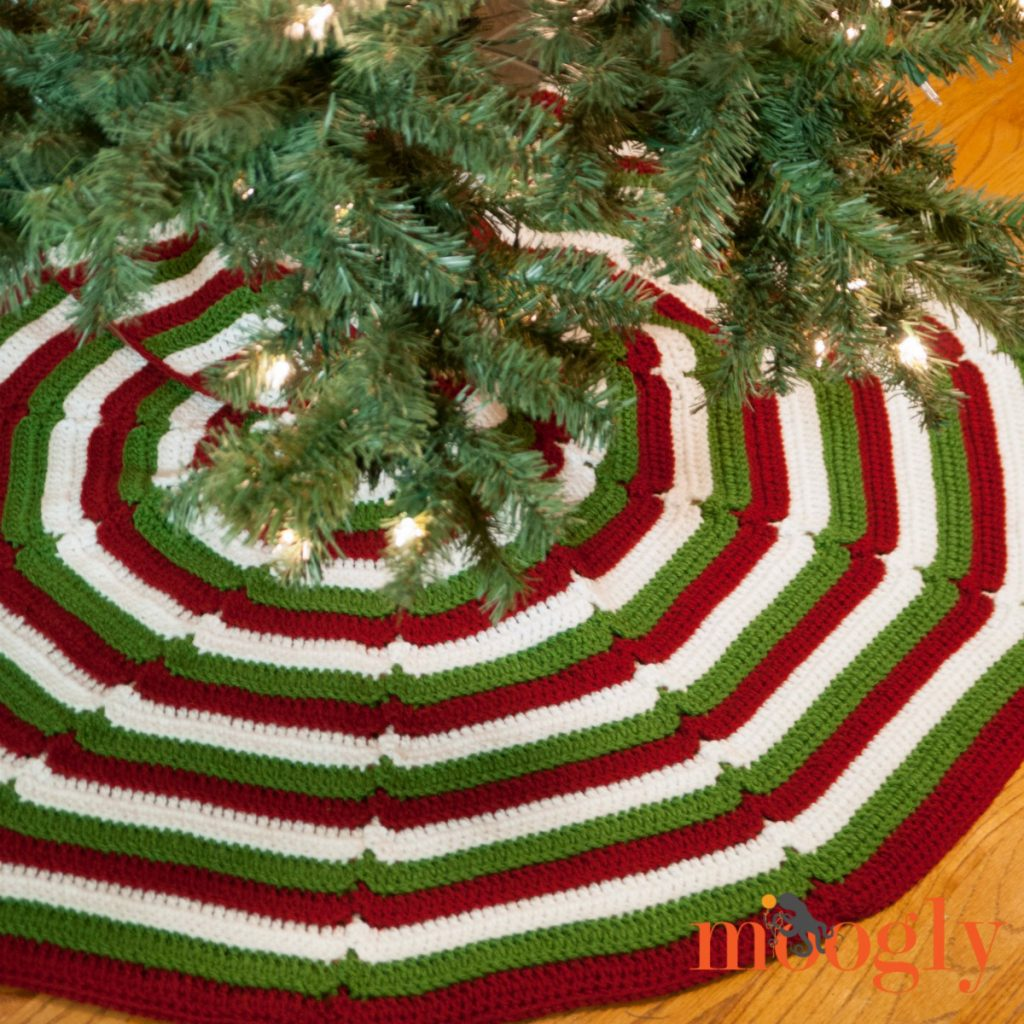 Crochet Christmas tree skirt made in red, green and white stripes