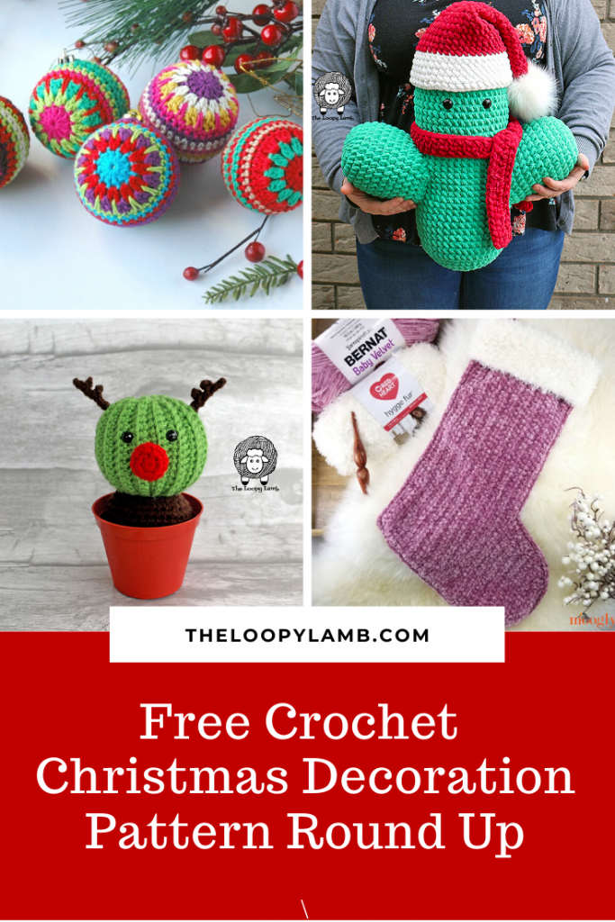 Collage of Free Crochet Christmas Crochet Decoration Patterns with a word overlay.