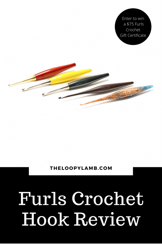 Image of the crochet hooks available from the furls crochet hook product line with a word overlay.