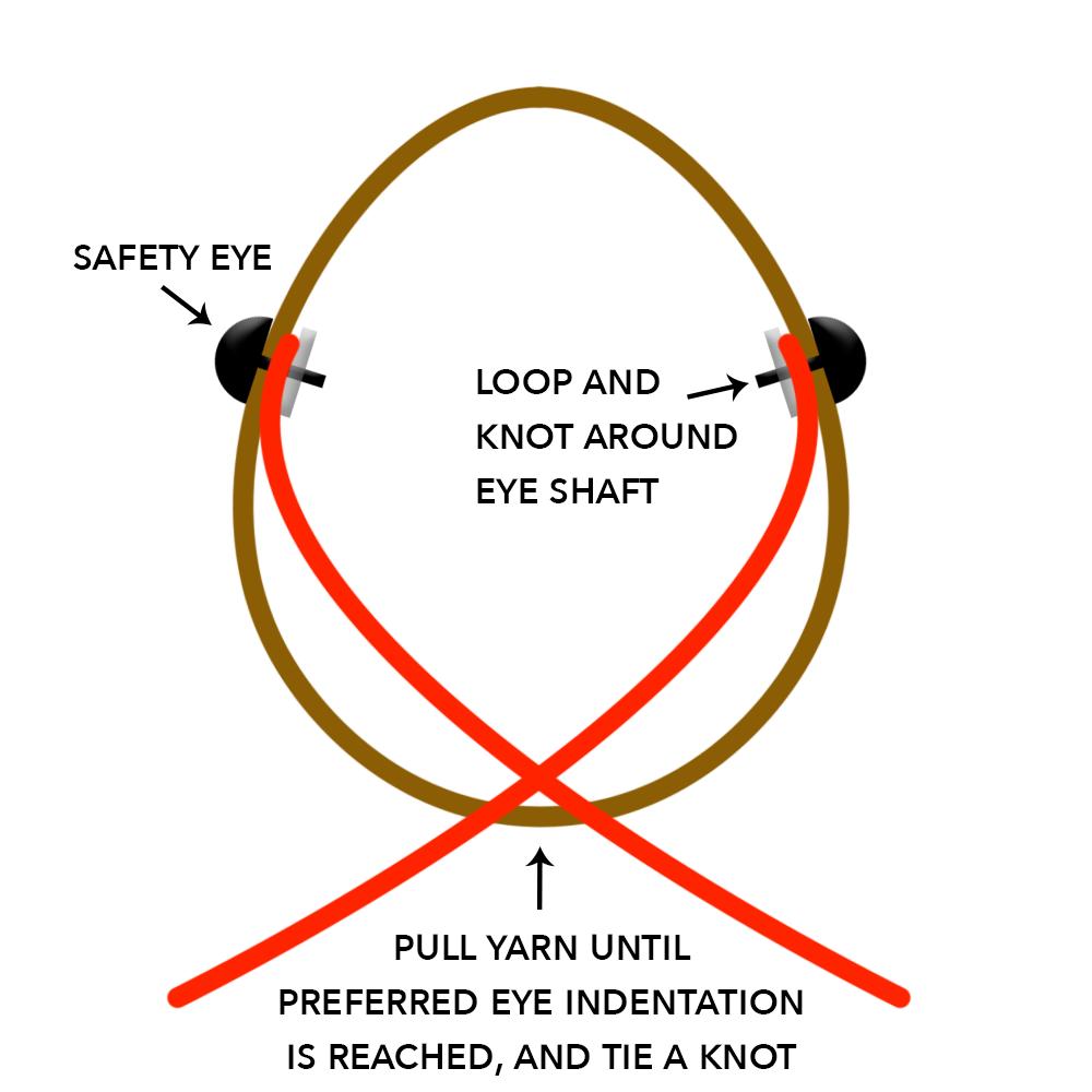 Buttons the Bunny Amigurumi Crochet Along diagram to show how to do facial indentation.