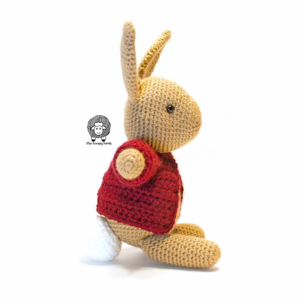 Side view of Buttons the Bunny made with the free crochet along pattern.