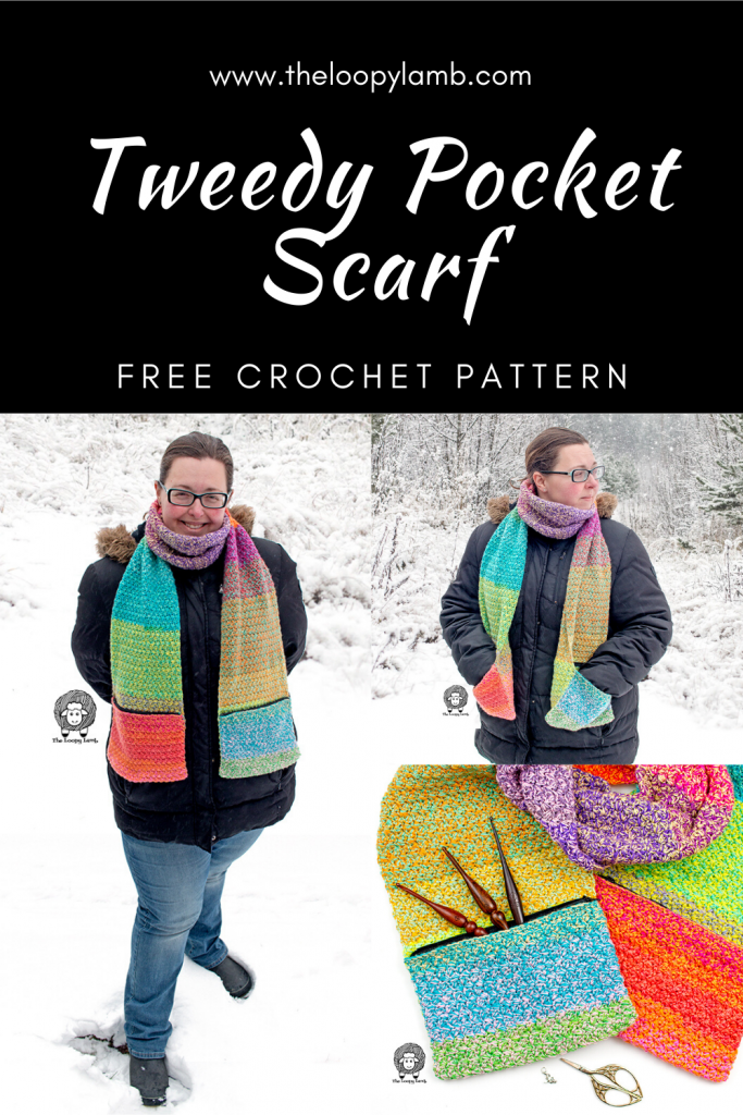 Collage of images of a woman wearing a crochet pocket scarf
