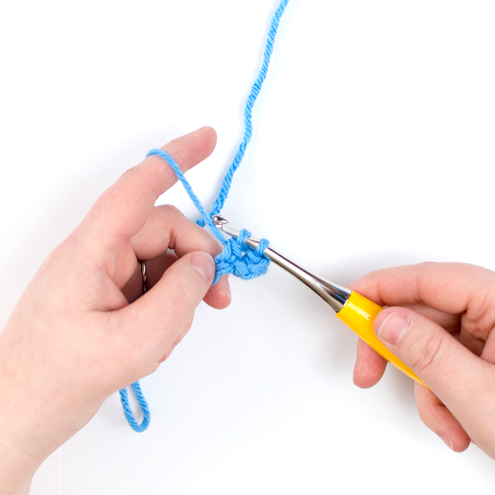 second step of how to double crochet