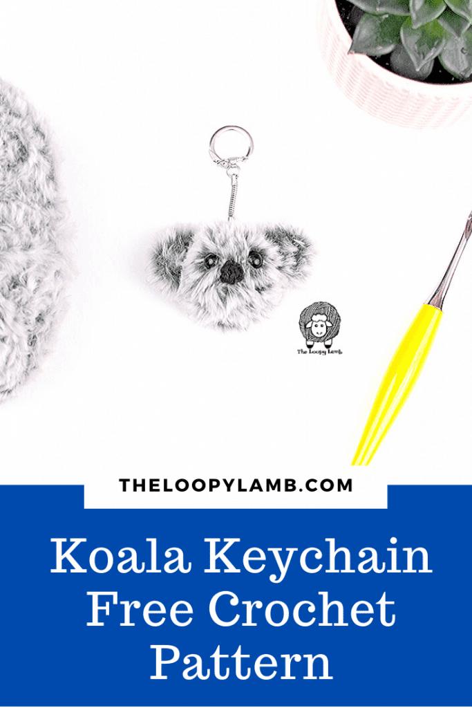Crochet Koala Keychain next to a yello crochet hook
