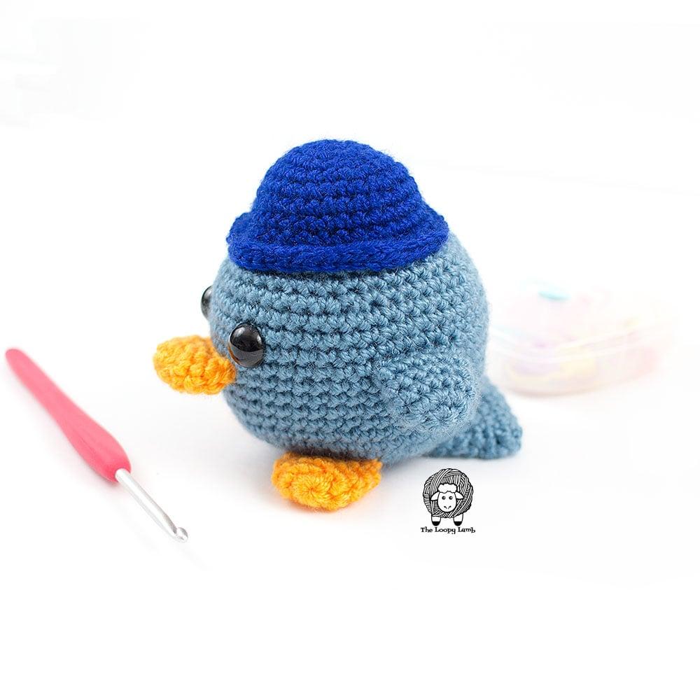 Blue Amigurumi Bird made with this free crochet bird pattern