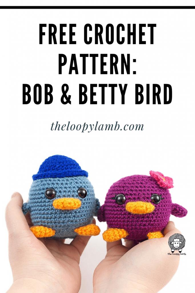 Two Amigurumi Birds made with this free crochet bird pattern