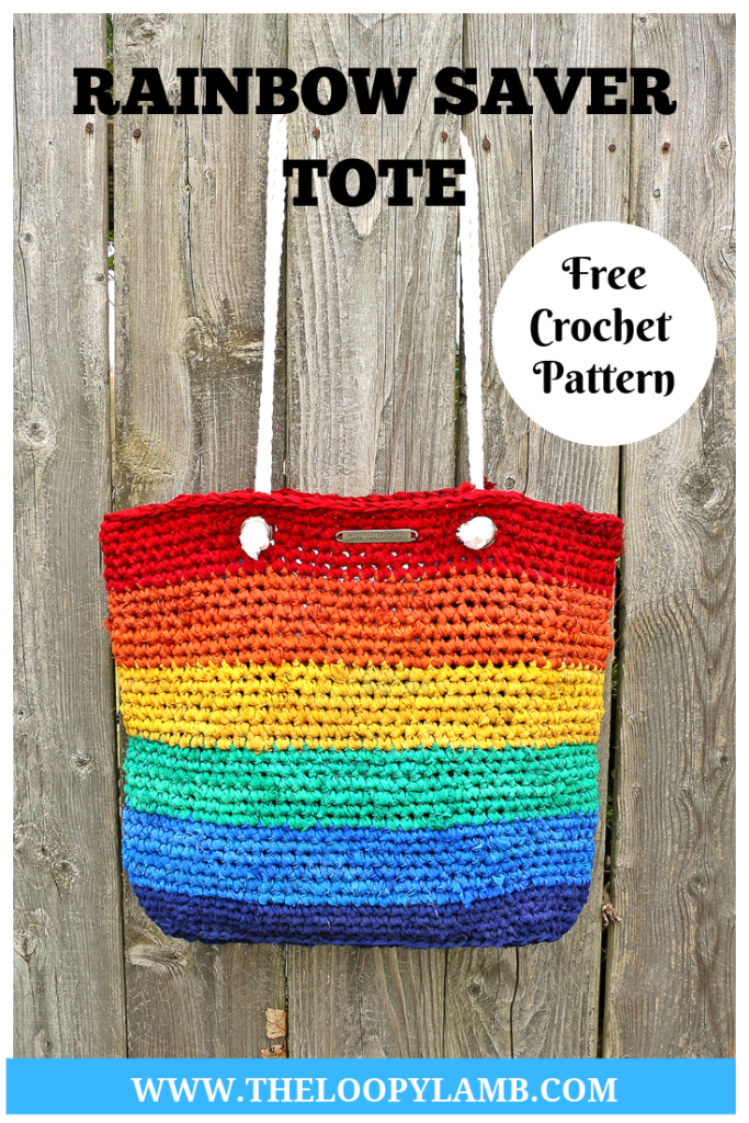Crochet Rainbow Tote Bag hanging on a fence with a text overlay indicating it's a free crochet tote bag pattern.