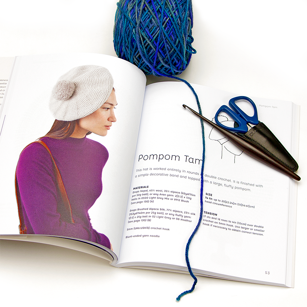 Image of the pom pom tam crochet hat in the book Simple Crocheted Hats by Vanessa Mooncie