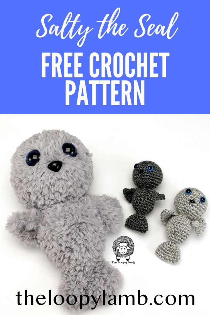 Crochet Seal and two amigurumi seal babies made with this free rochet seal pattern