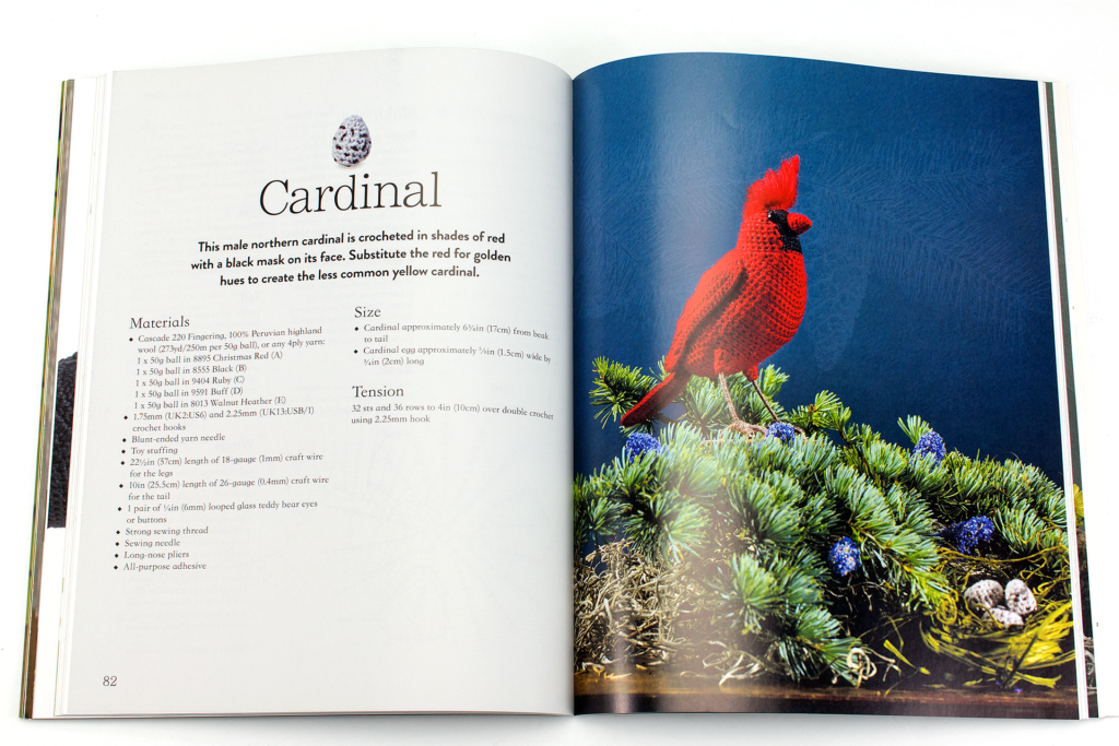 Image of the crochet cardinal available in the Crocheted Birds book