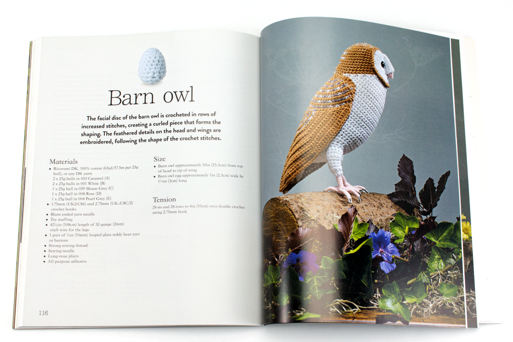 Crocheted barn owl page inside the Crocheted Birds Book