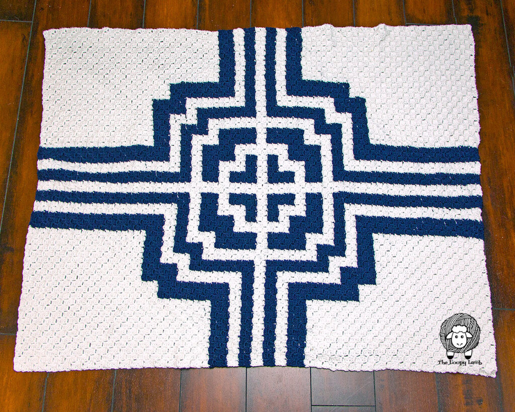 Blue and White Corner to Corner Blanket Made with the It's All Greek to Me C2C Pattern