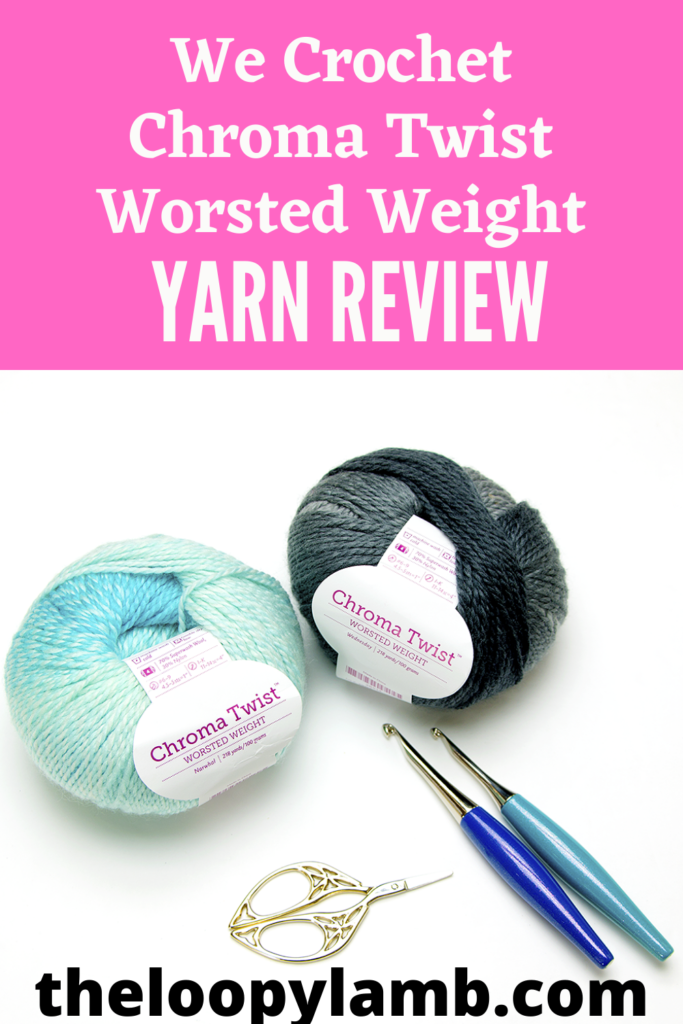 Two skeins of Chroma Twist Worsted Weight Yarn with some crochet accessories.