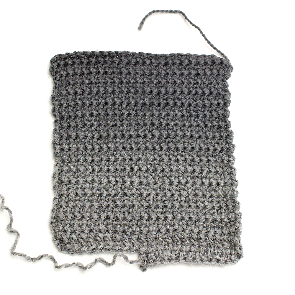Ombre crochet swatch in black and grey