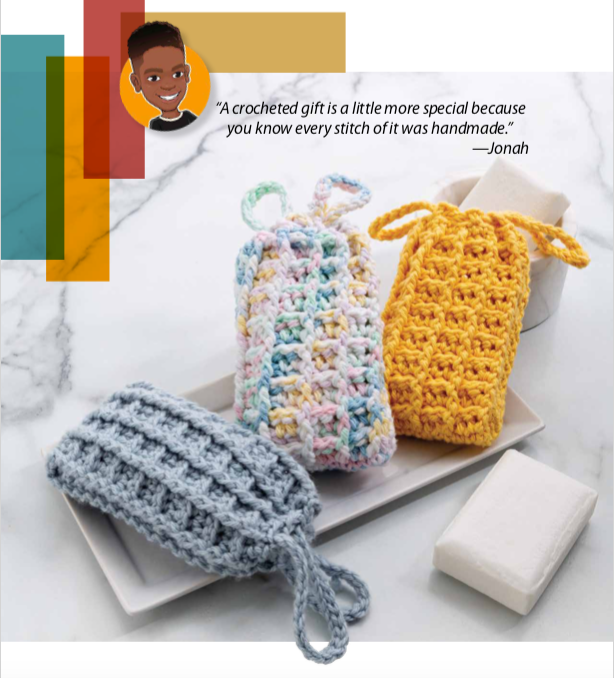 Soap savers made with a crochet pattern found in the new Jonah Larson book.