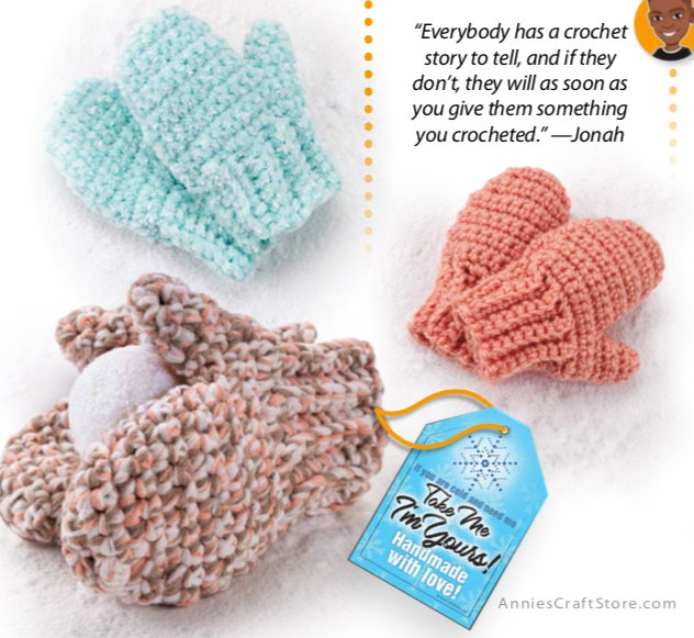 crochet mittens in three different sizes and colours.