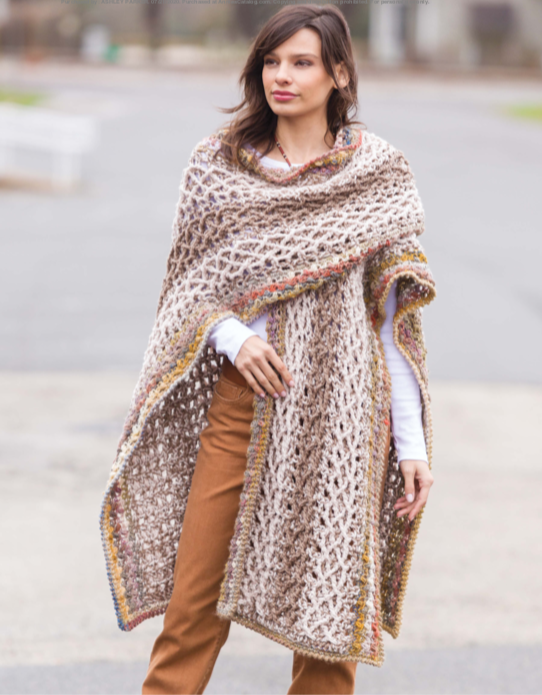 image of the crochet ruana pattern available in two-by-two crochet.