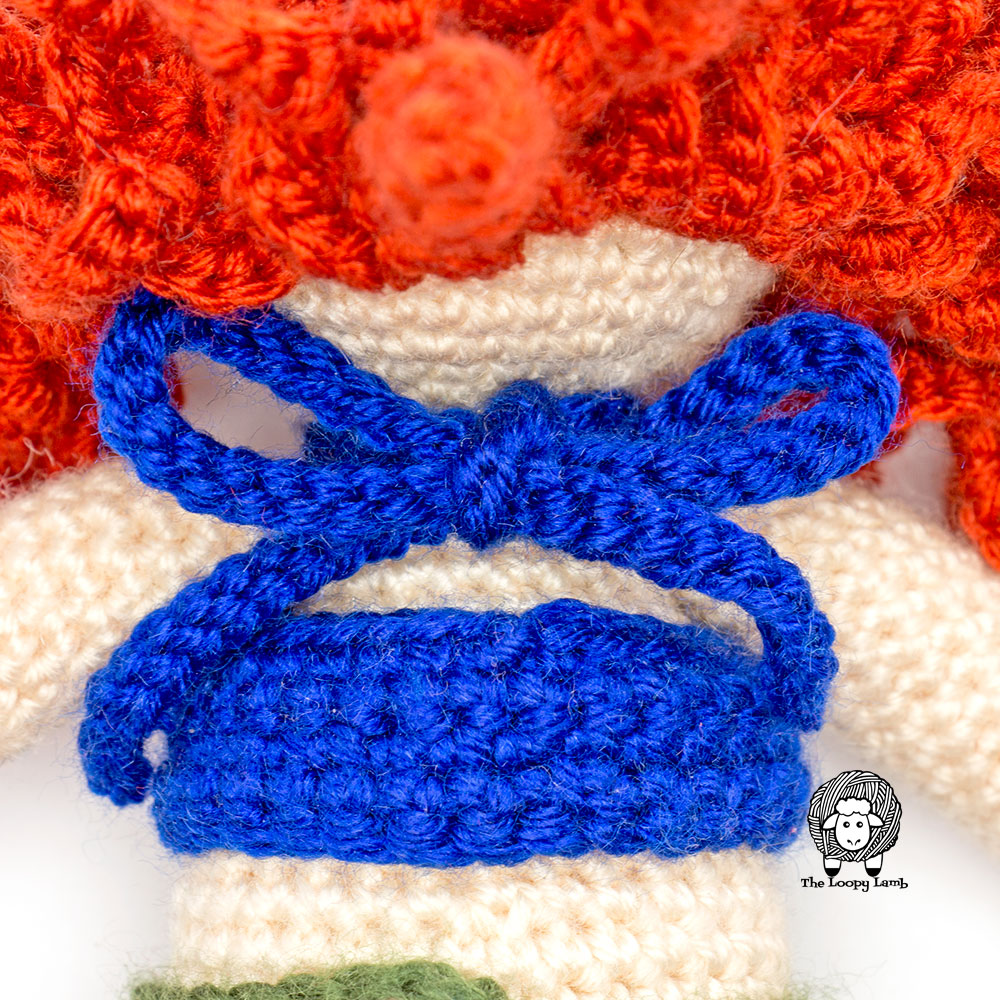 Back view of the halter top of the crochet doll outfit pattern