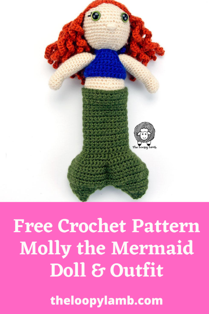 Doll wearing a crochet doll outfit including a halter top and mermaid tail.